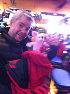 Something's wrong with my husband. He has an uncanny ability to win cheesy stuffed animals in the crane game. He won four in a row.