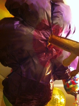 At home, Chris & Lisa brought over a cluster of balloons worthy of UP!