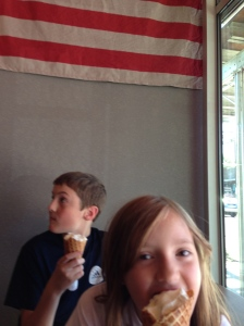 Steven and Livvie devouring ice cream at Salt & Straw